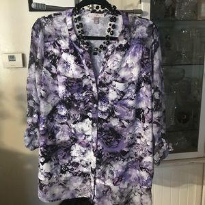 ROZ &Ali Flower Print Blouse